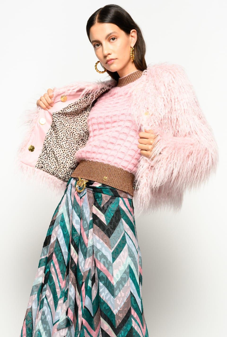 Mongolian-effect faux fur boxy jacket - Pinko