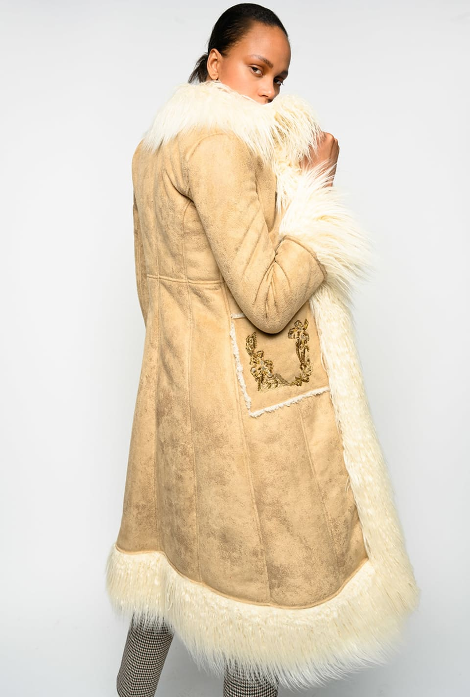 Long coat in suede and faux shearling fur - Pinko