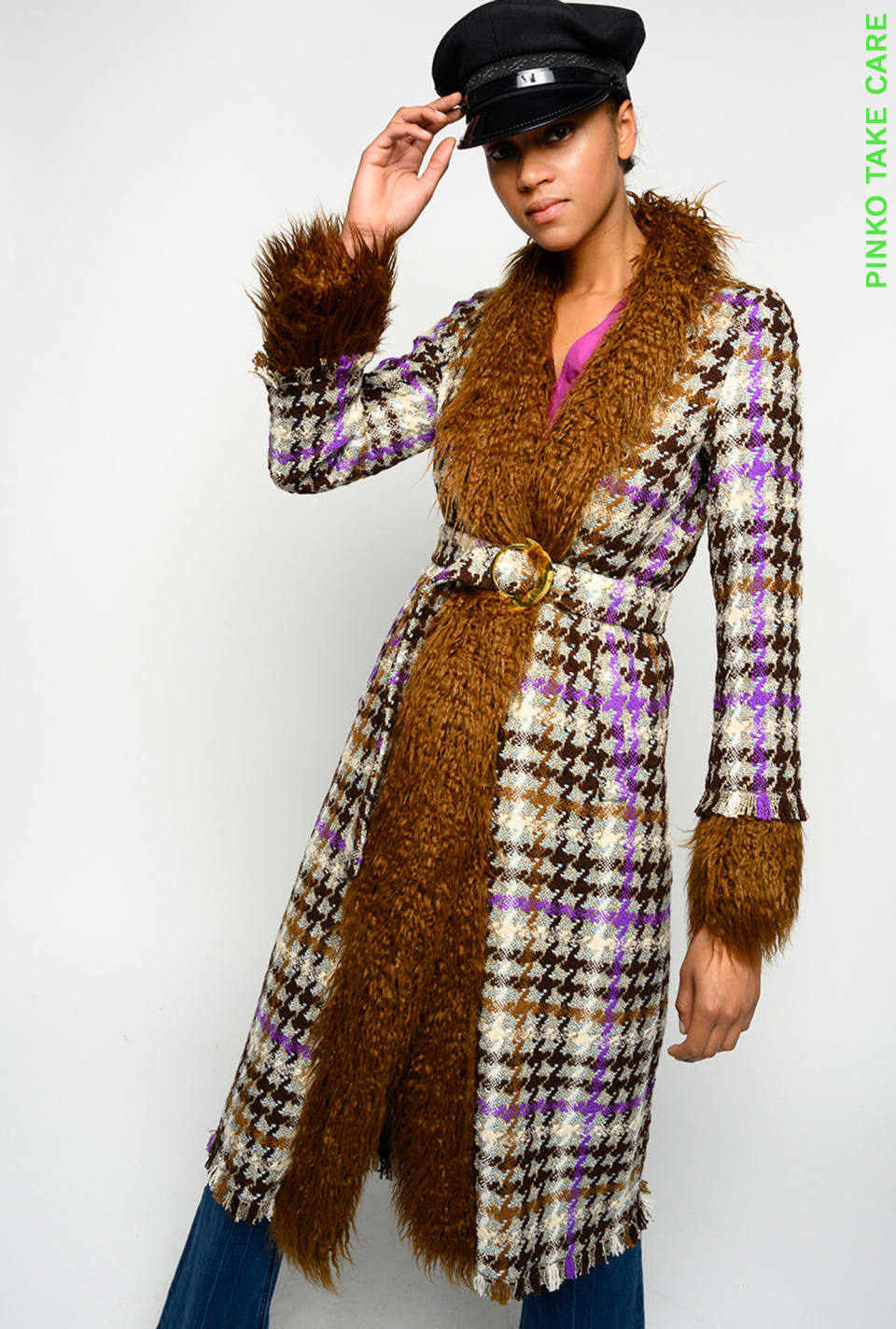 Long coat in check hopsack and faux fur - Pinko