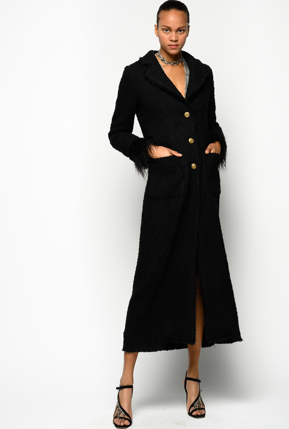 Long bouclé hopsack coat - Pinko