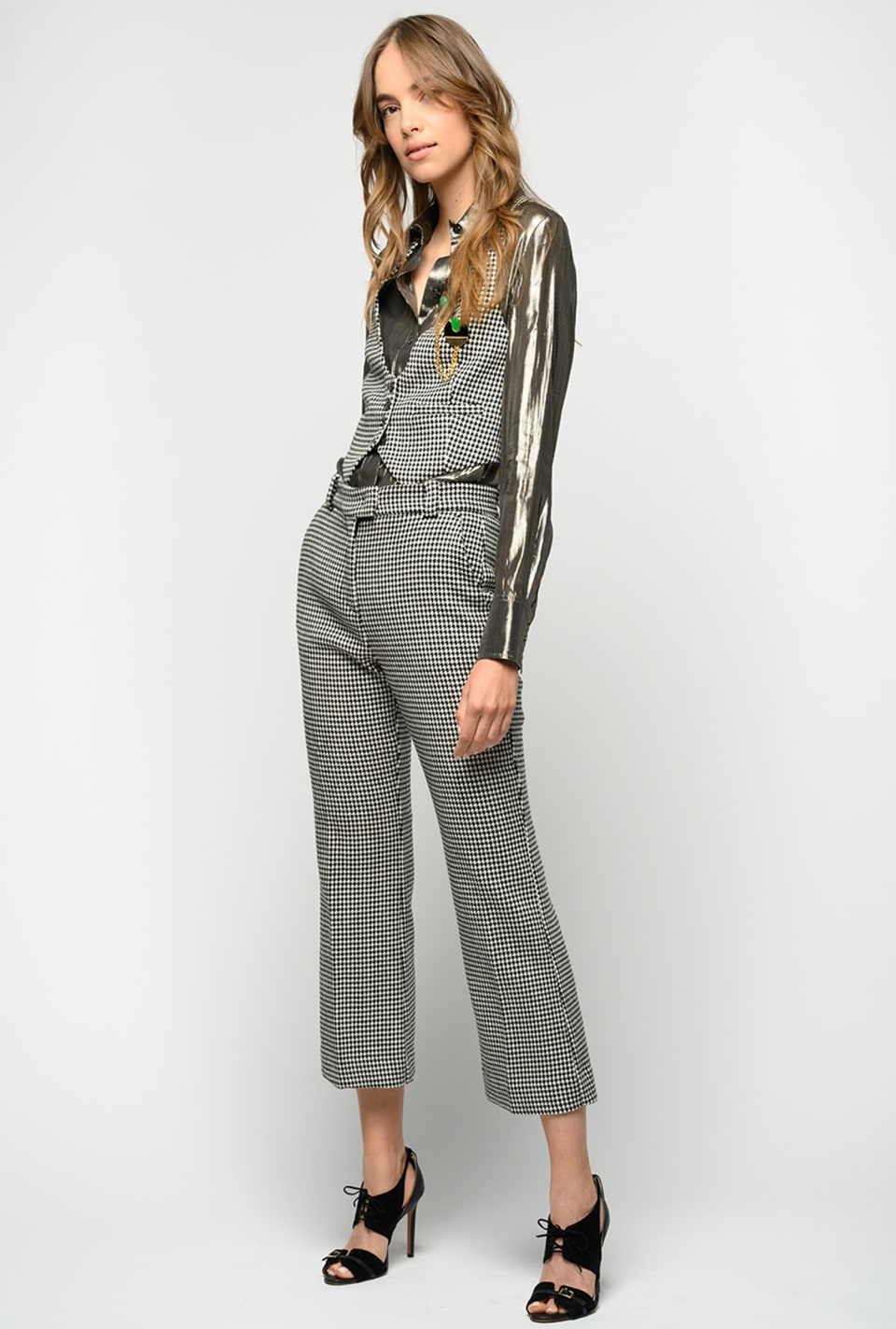 Houndstooth flare-fit trousers - Pinko