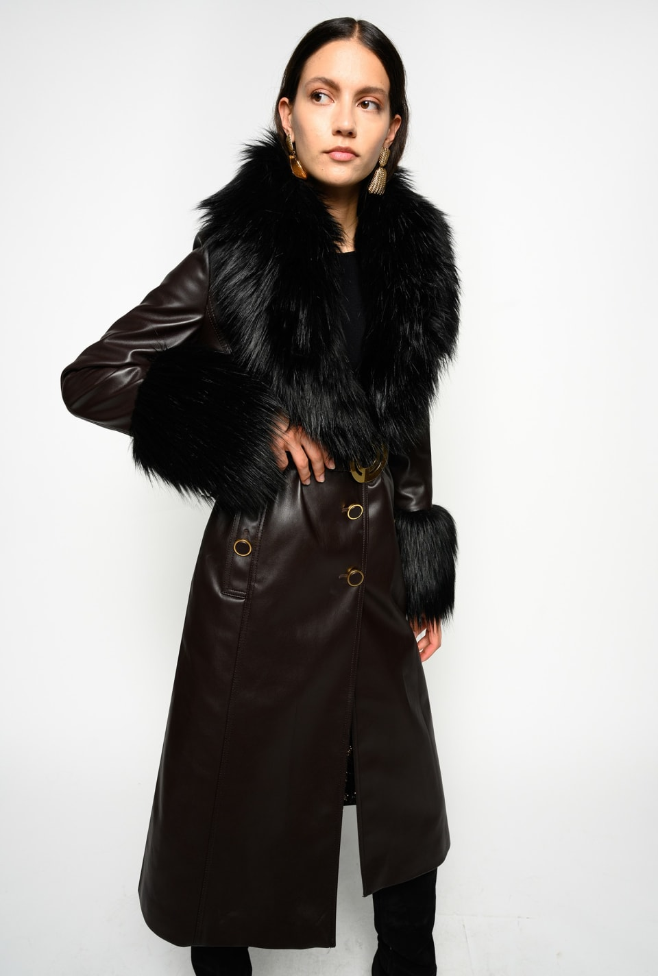 Leather-effect coat with faux fur - Pinko