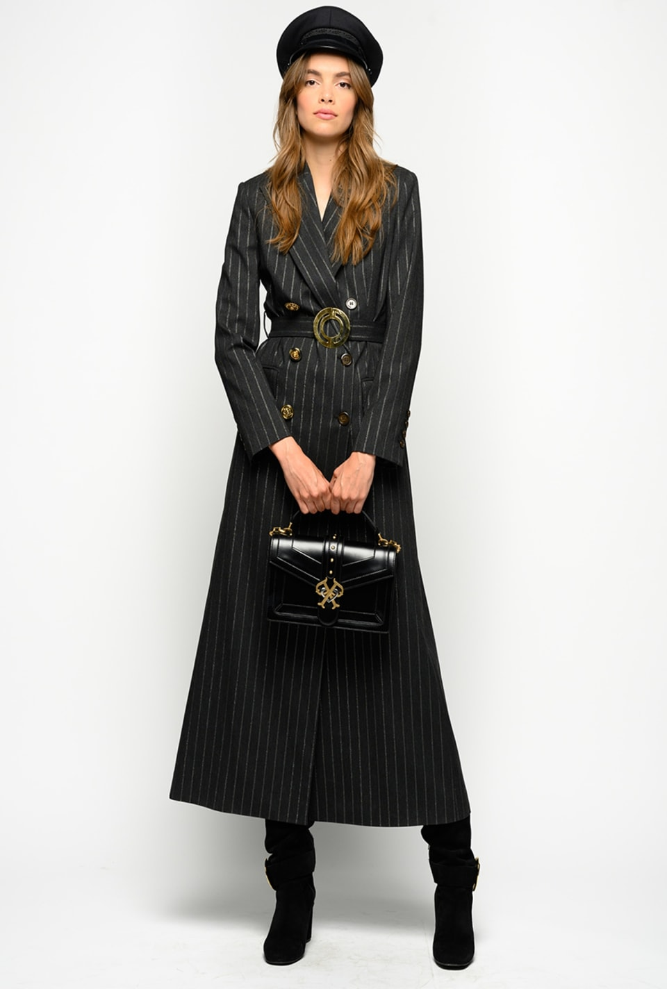 Lurex pinstriped maxi jacket - Pinko
