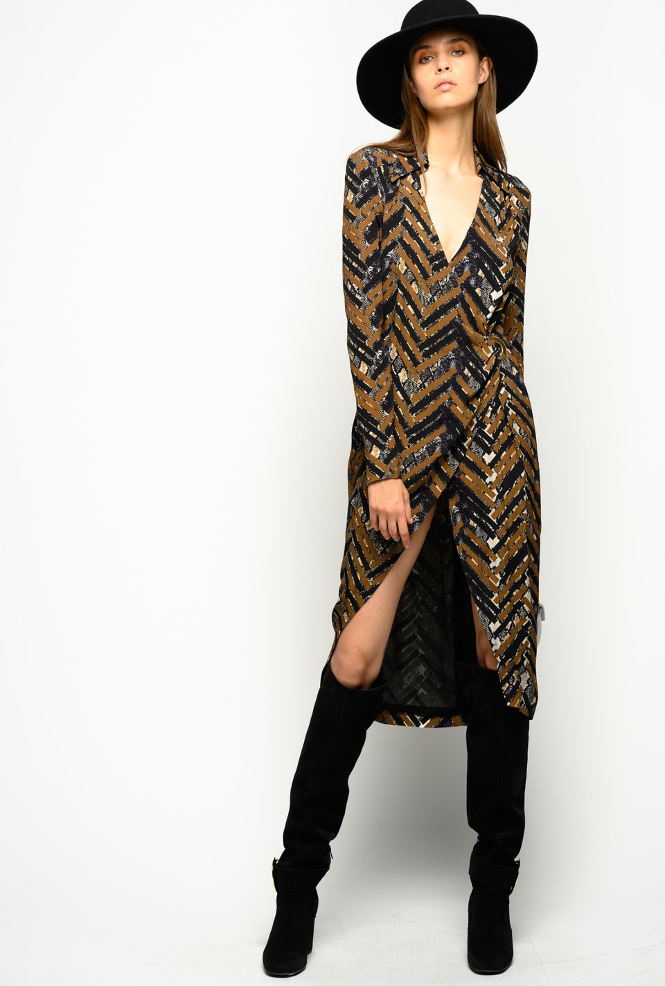 Crossover dress in chevron marocaine and snakeskin print - Pinko