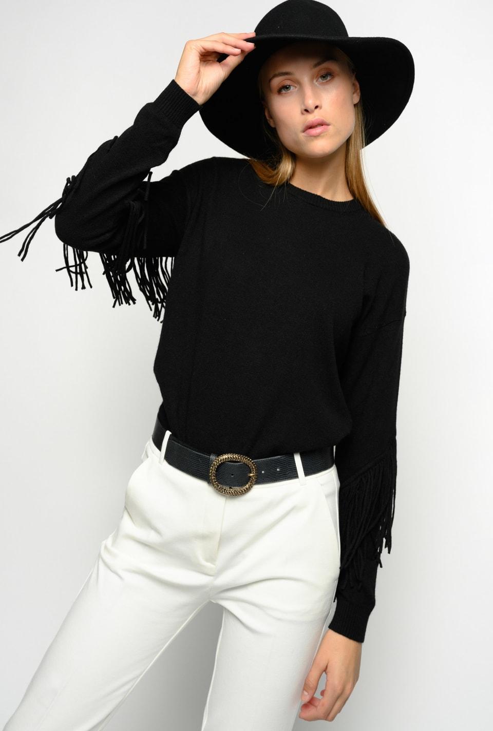 Pullover bicolor con frange - Pinko