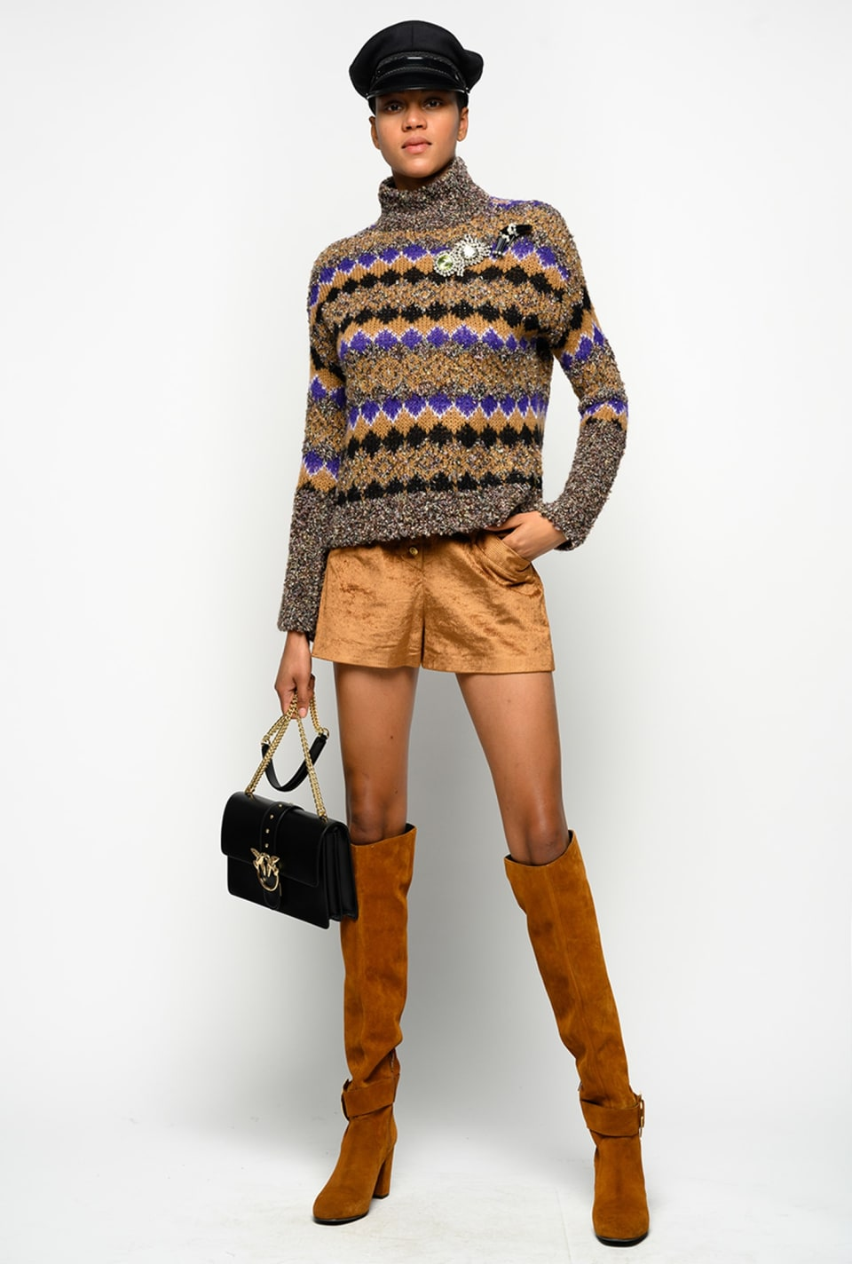 毛圈花式线提花高领套头衫 - Pinko
