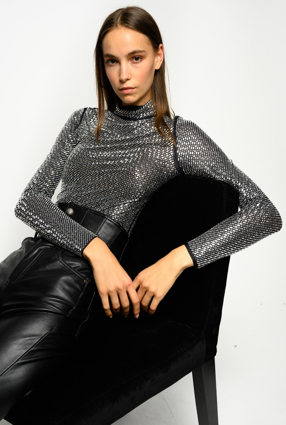 Turtleneck with appliquéd rhinestones - Pinko