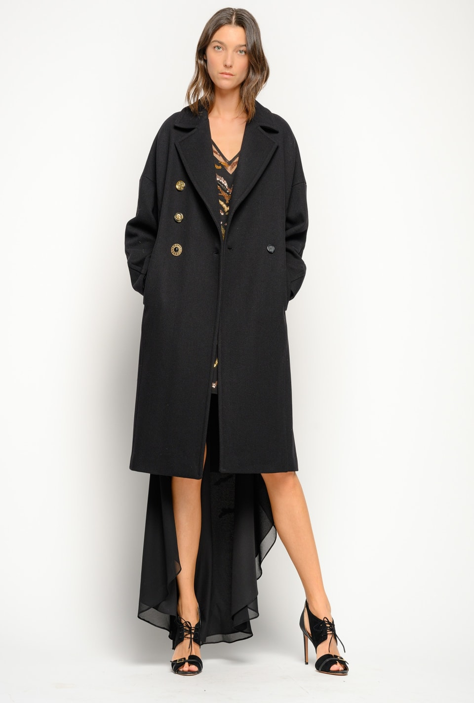 Chevron Melton pea coat - Pinko