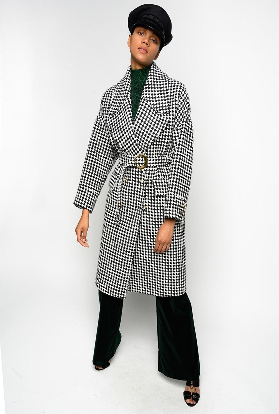 千鸟格纹复古大衣 - Pinko