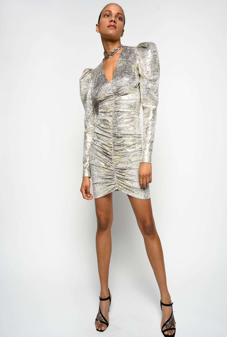 Short dress in laminated jersey chenille - Pinko