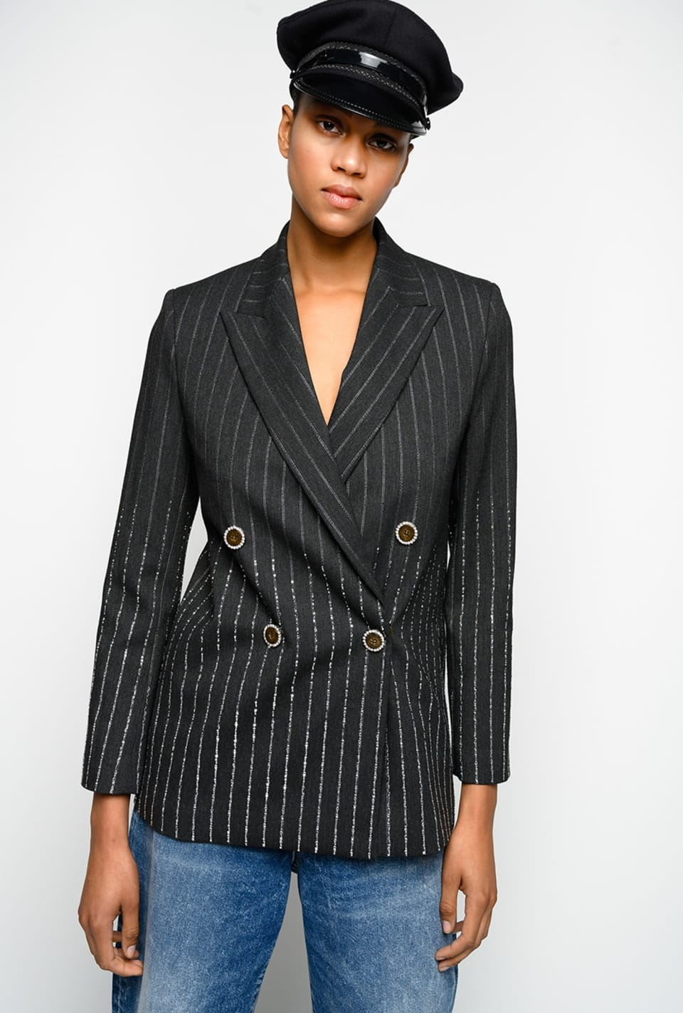 Lurex pinstriped blazer with rhinestones - Pinko