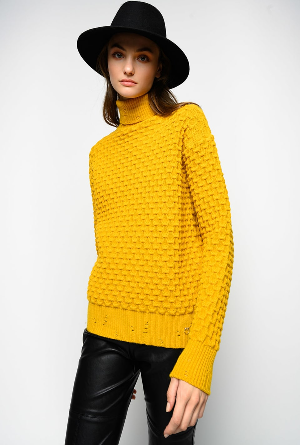 Stretch viscose turtleneck pullover - Pinko