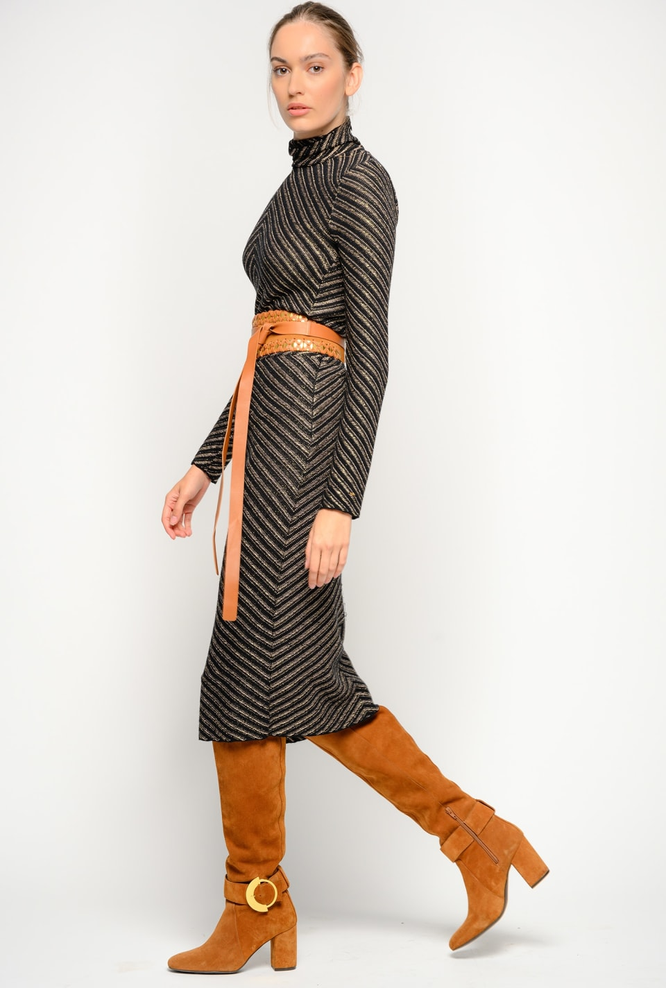 Mid-calf skirt in chevron jacquard - Pinko