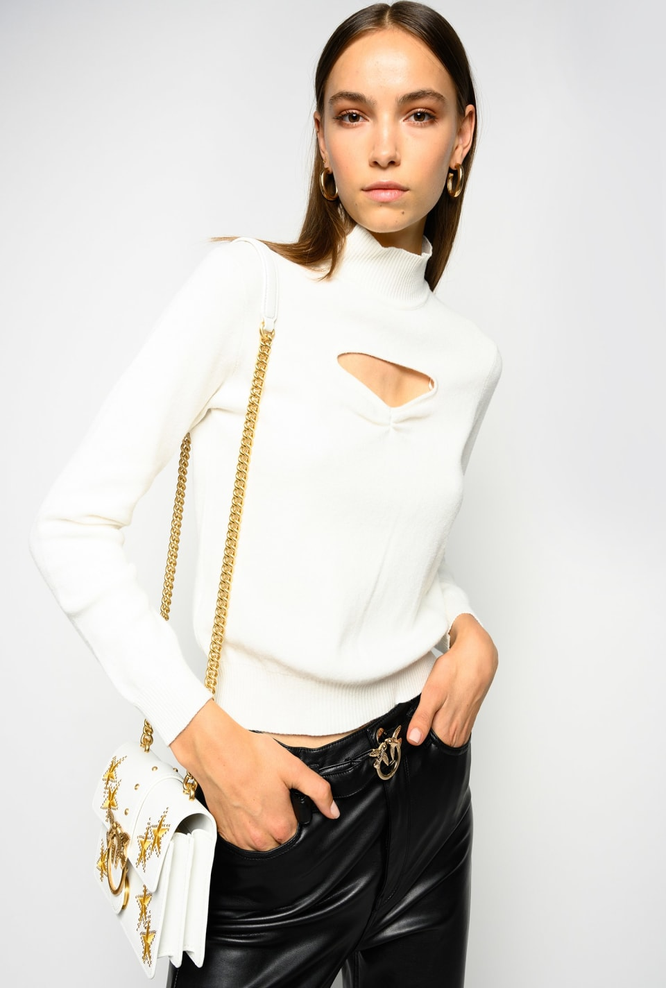 Pullover with cut-out and brooch - Pinko