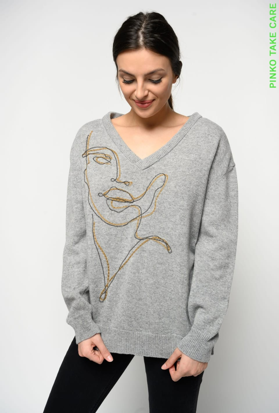 V-neckline pullover with PINKO for Maglidee embroidery - Pinko