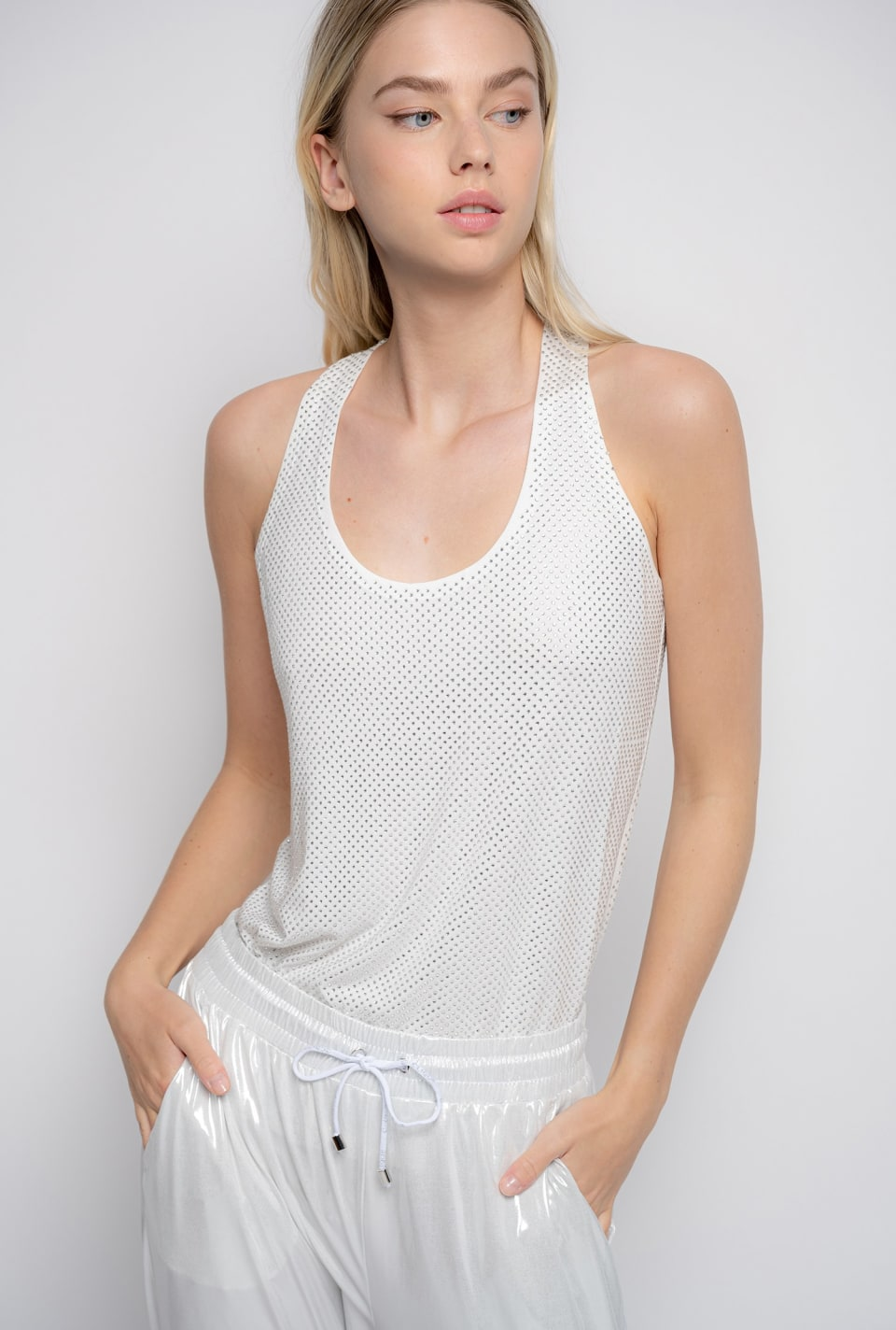 Full-rhinestone tank top - Pinko