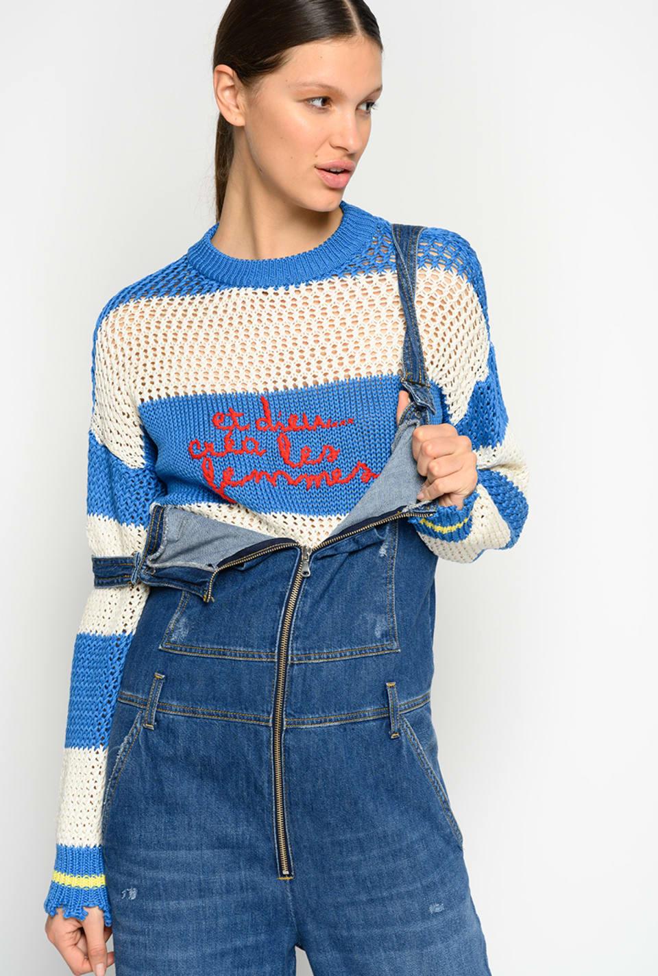 刺绣装饰条纹套头衫 - Pinko