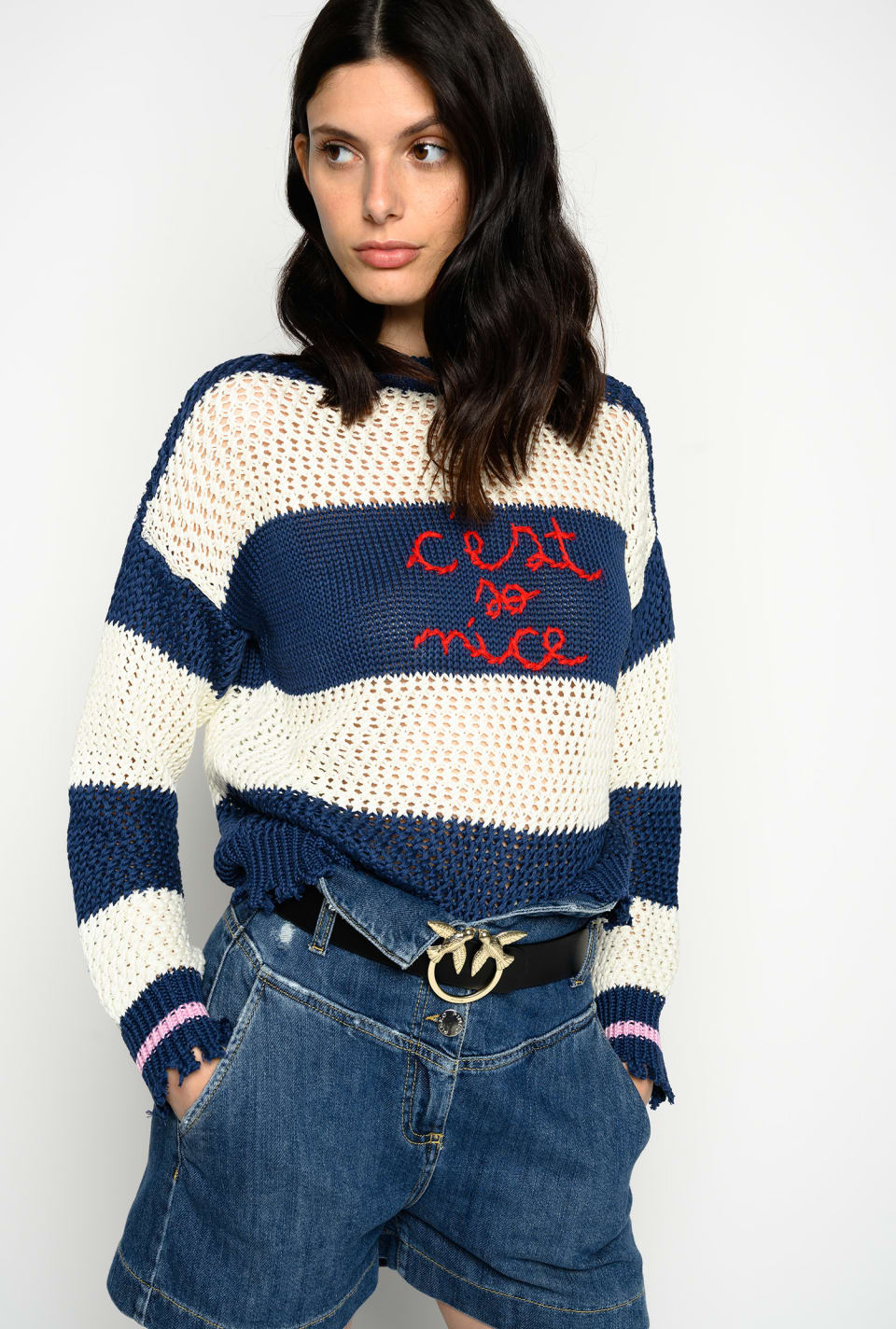 Pullover mit Streifen und Stickereien - Pinko