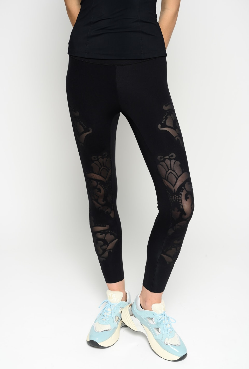 Leggings with laser-cut motif