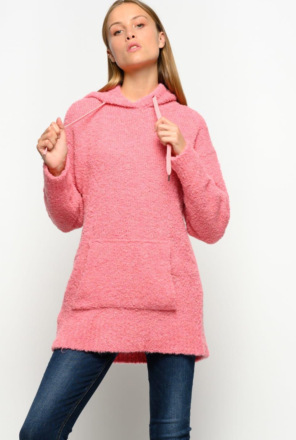 Long sweatshirt in fluffy bouclé - Pinko