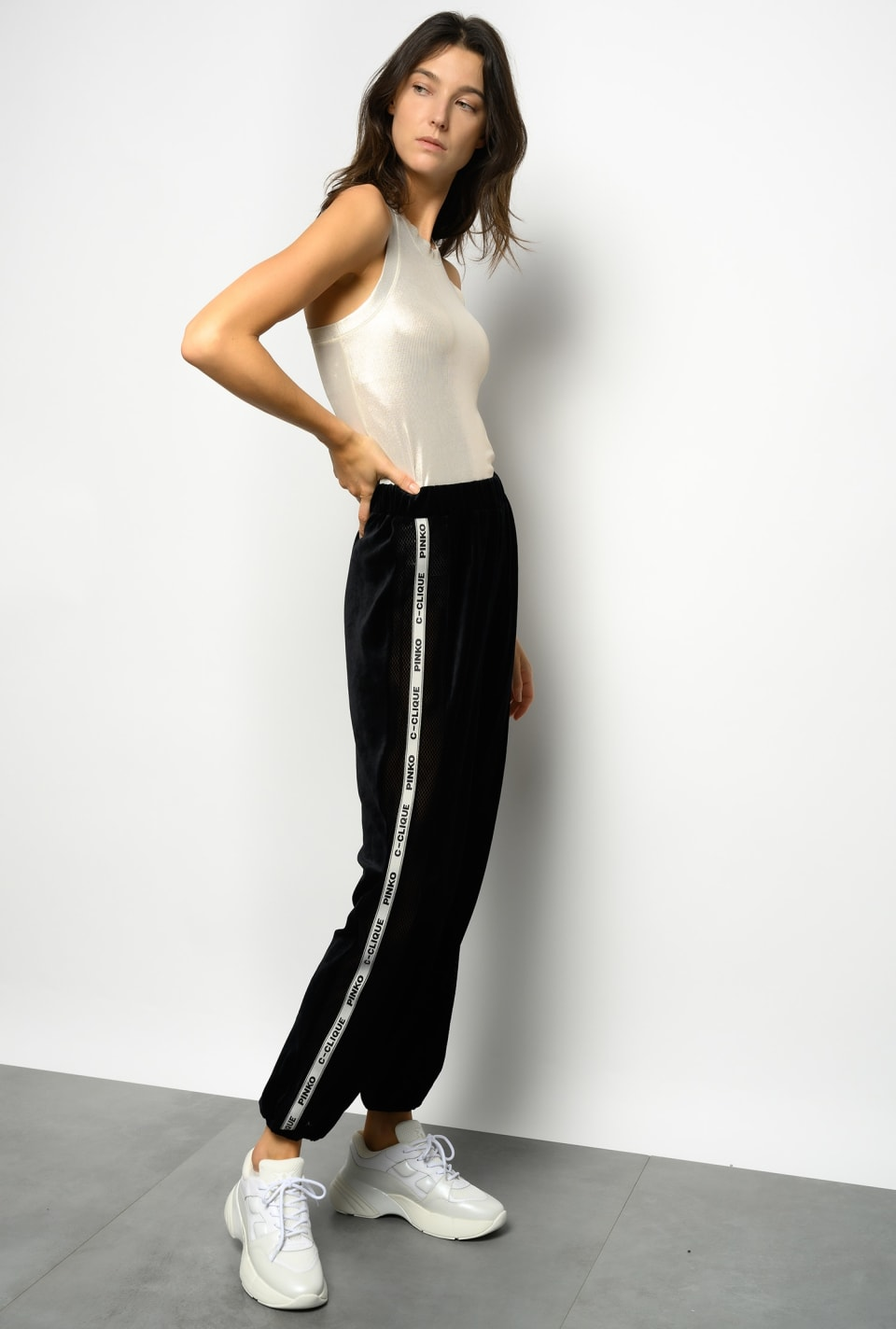 Chenille and mesh jogging bottoms - Pinko