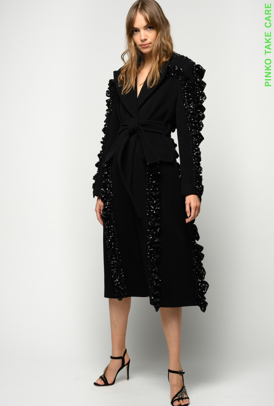 REIMAGINE coat with ruches and sequins - Pinko