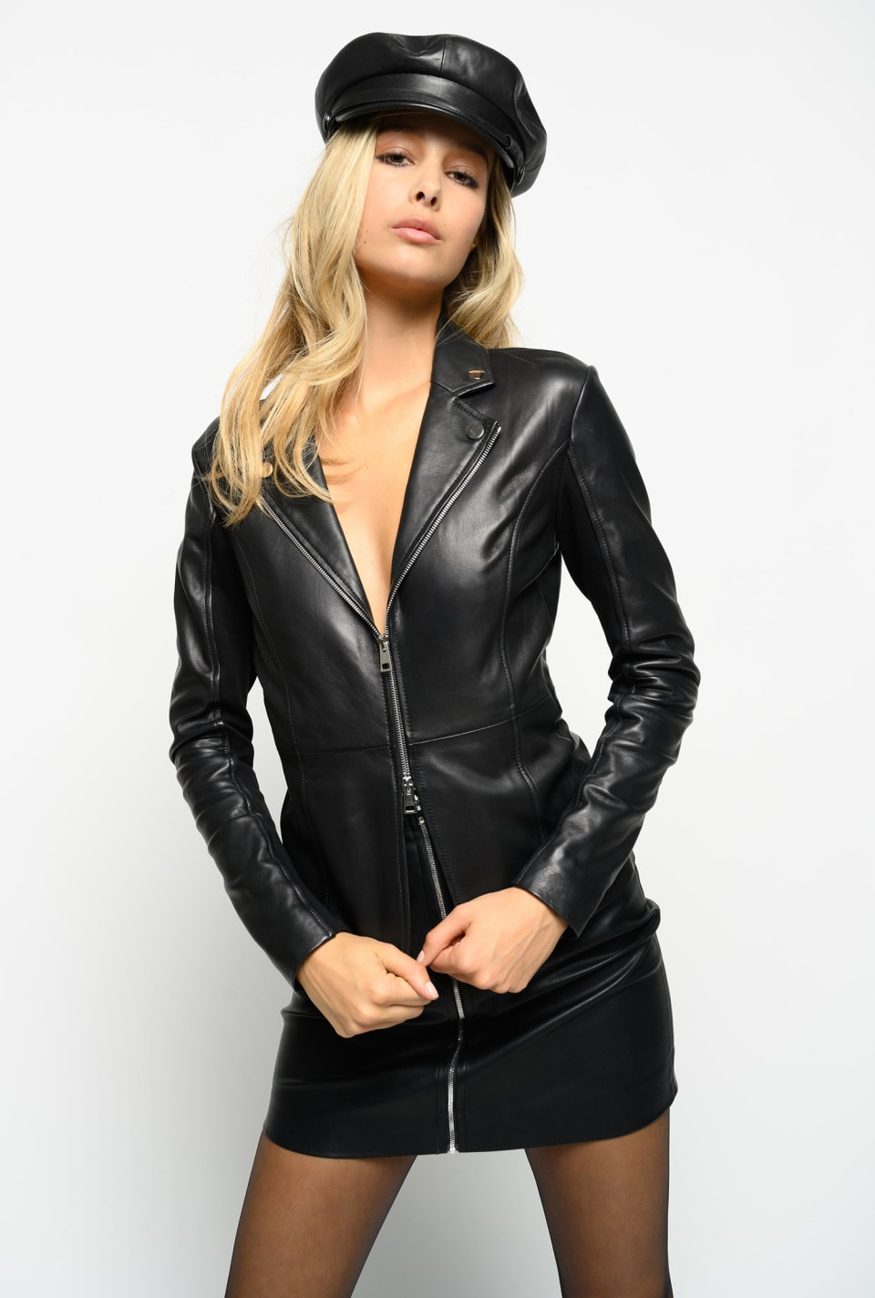 Leather and technical fabric jacket
