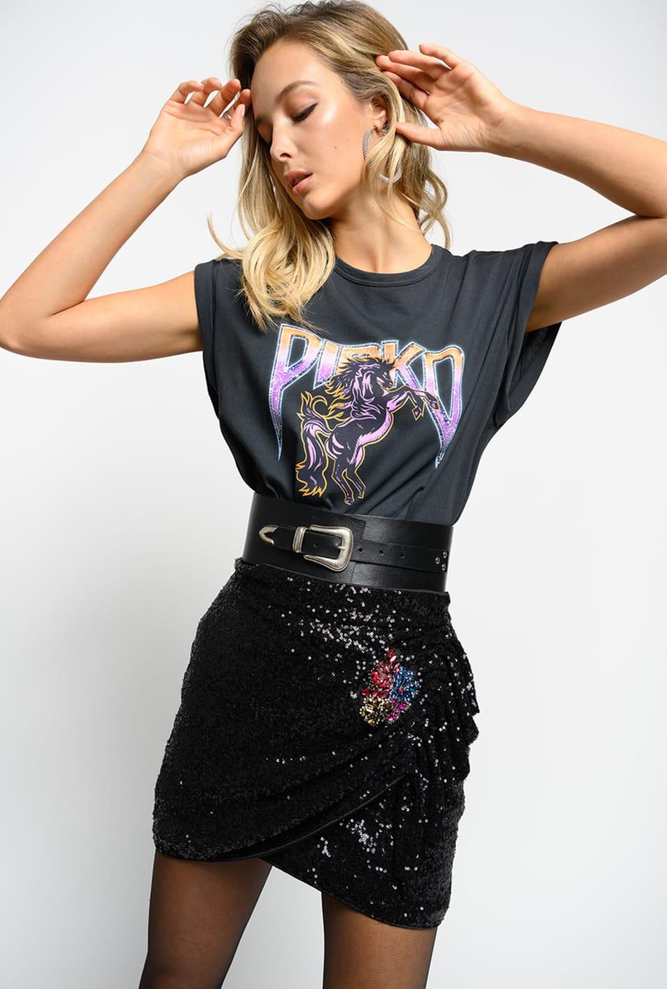 Minifalda de lentejuelas con bordado joya