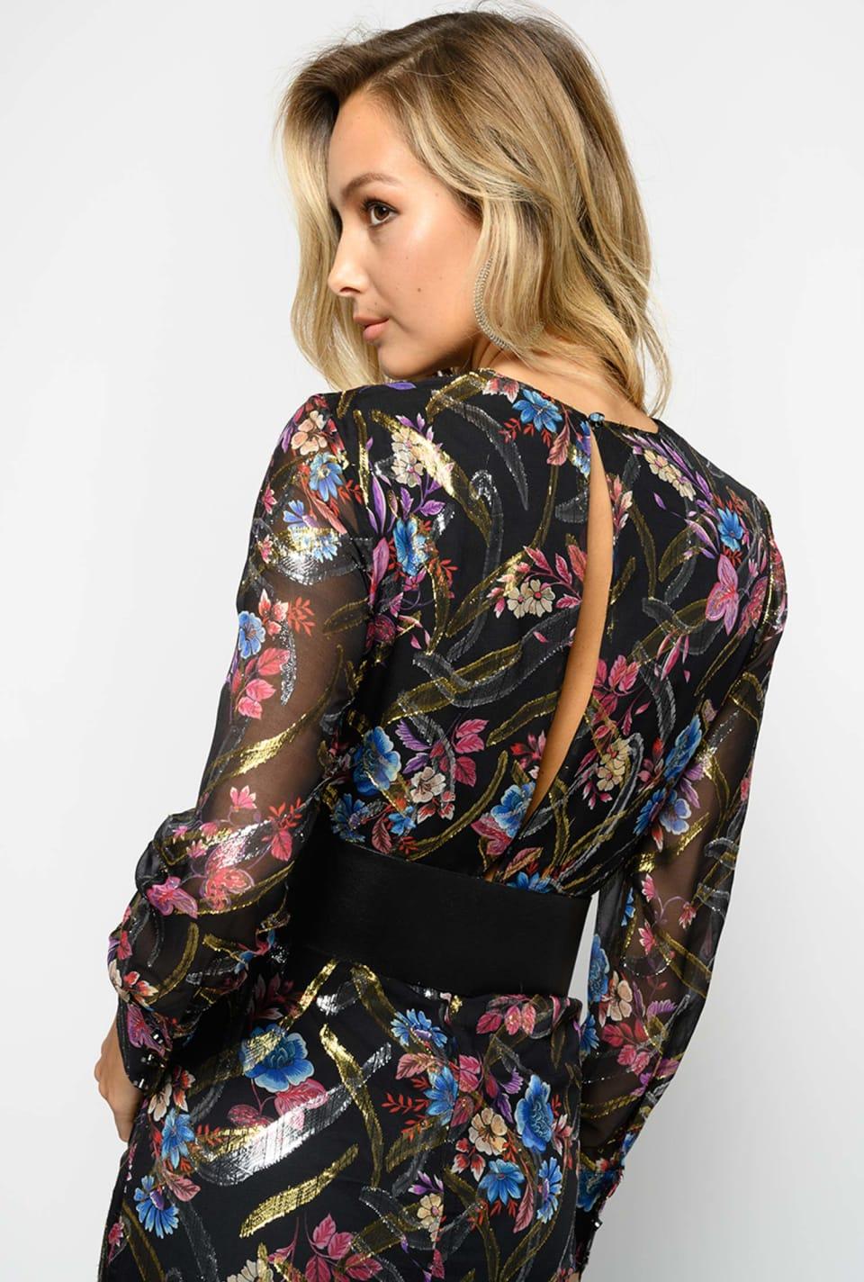 Vestido de fil coupé con estampado floral