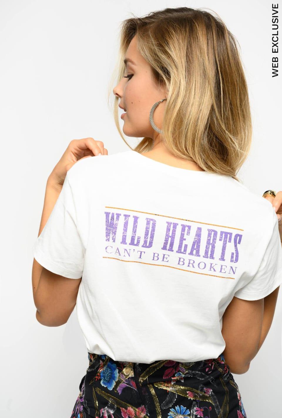 T-shirt in jersey con ricamo cavallo