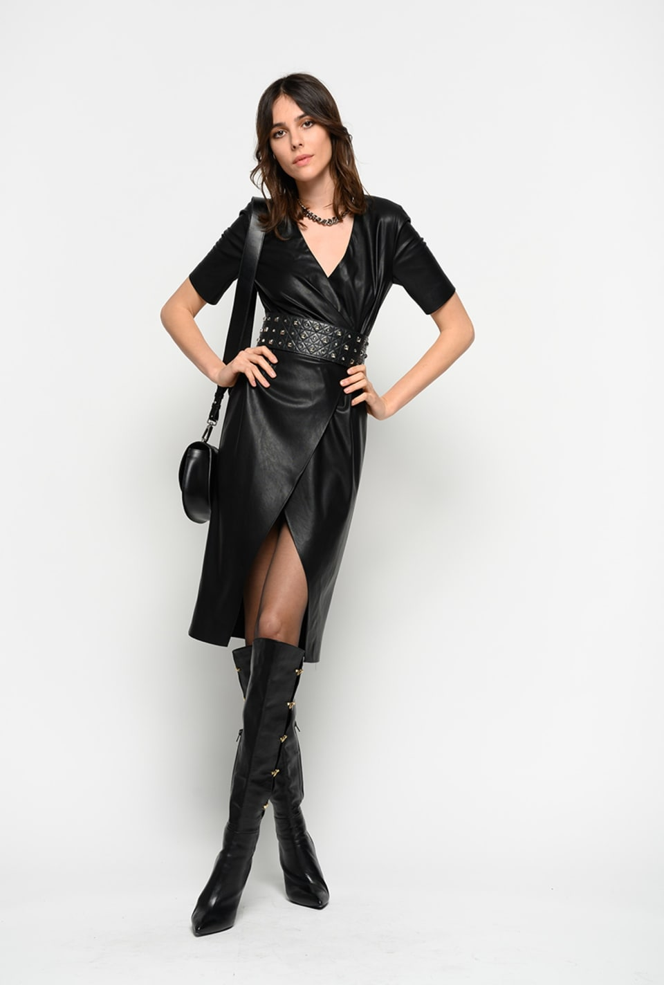 Leather look wraparound dress