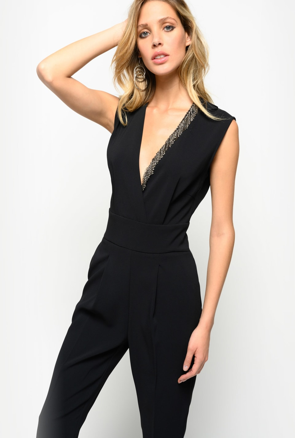 Stretch crepe de chine jumpsuit