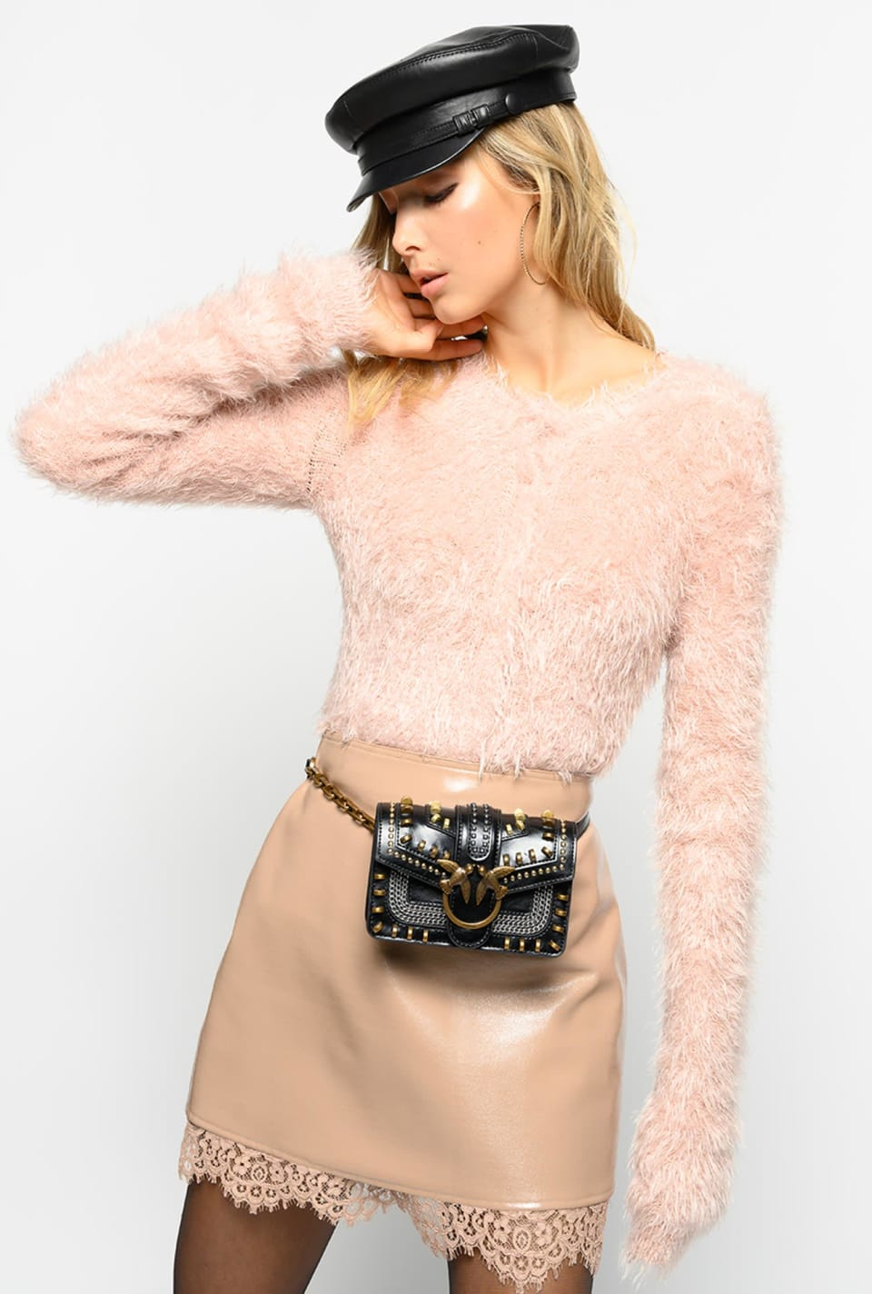 Mini skirt in stretch patent leather look fabric and lace