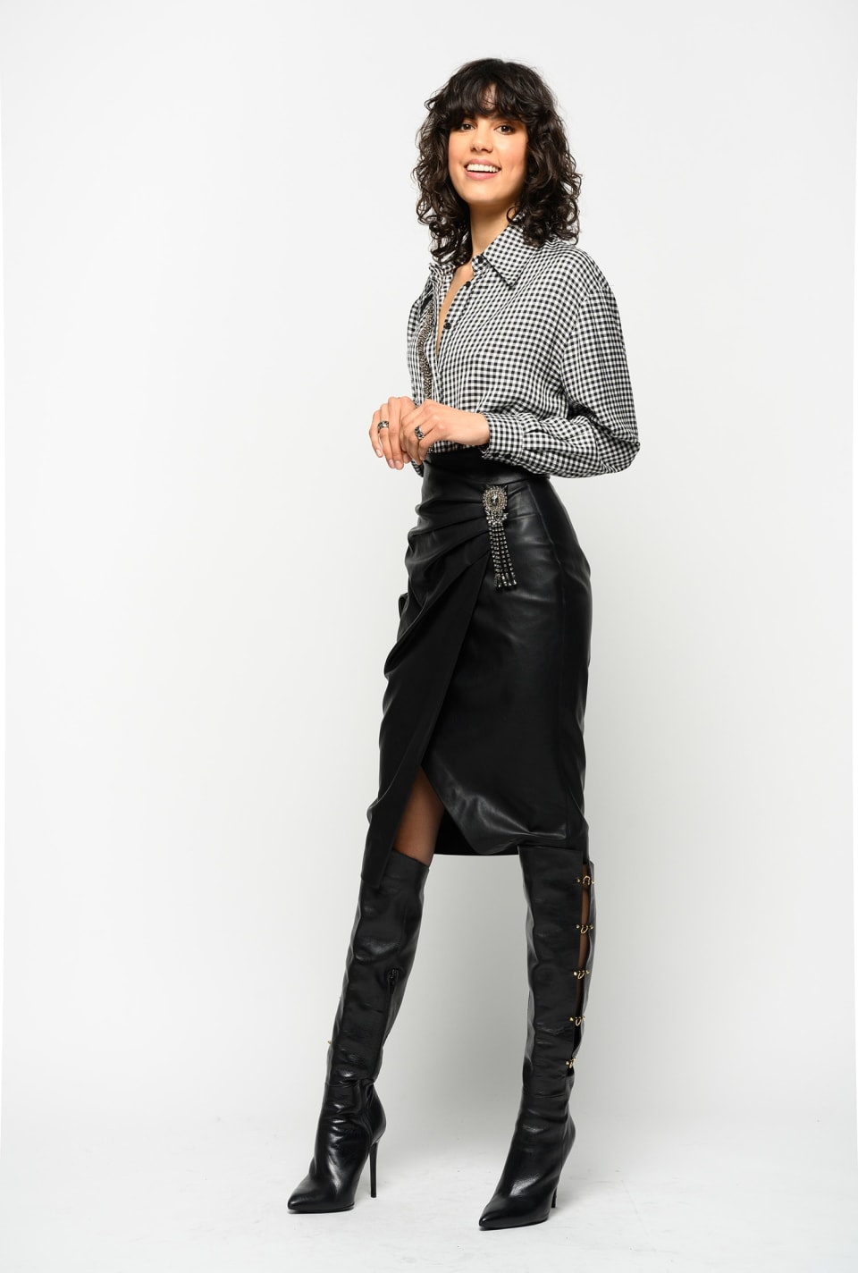 Leather look midi-length skirt
