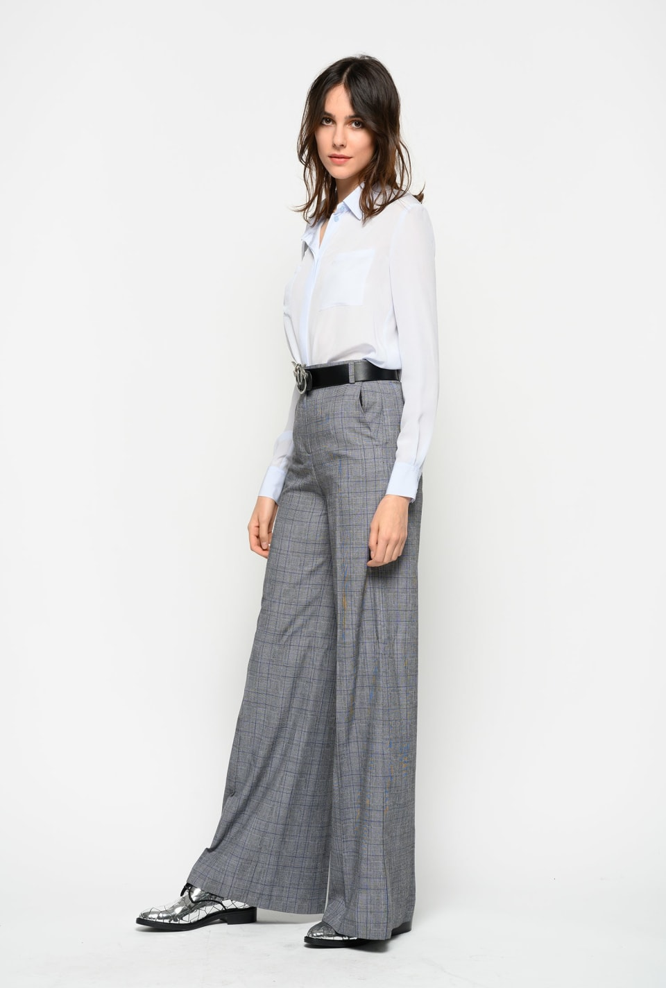 Pantaloni palazzo in tela di lana