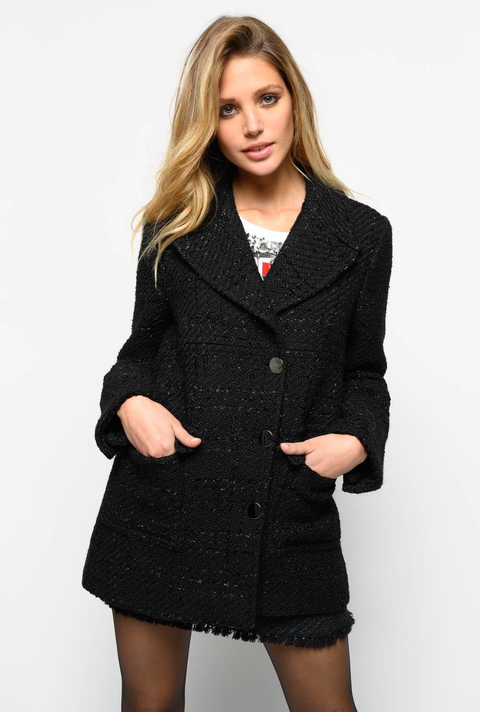 Abrigo de tweed bouclé lúrex
