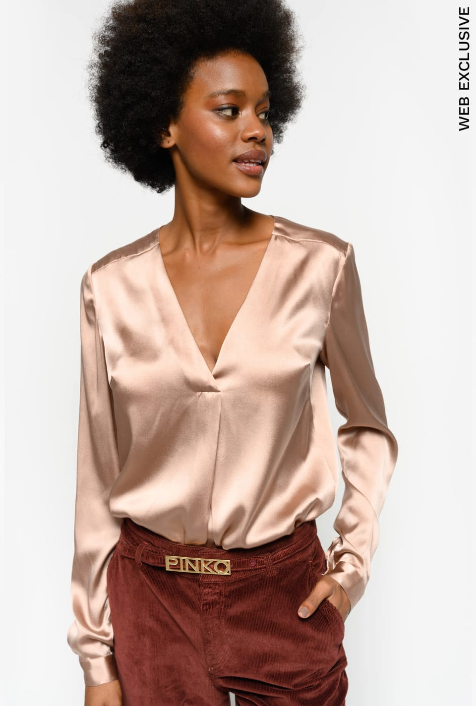 Blouse en satin stretch
