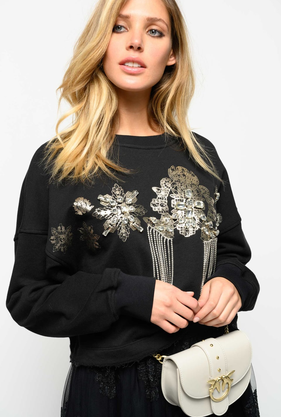 Cropped sweatshirt with jewel embroidery