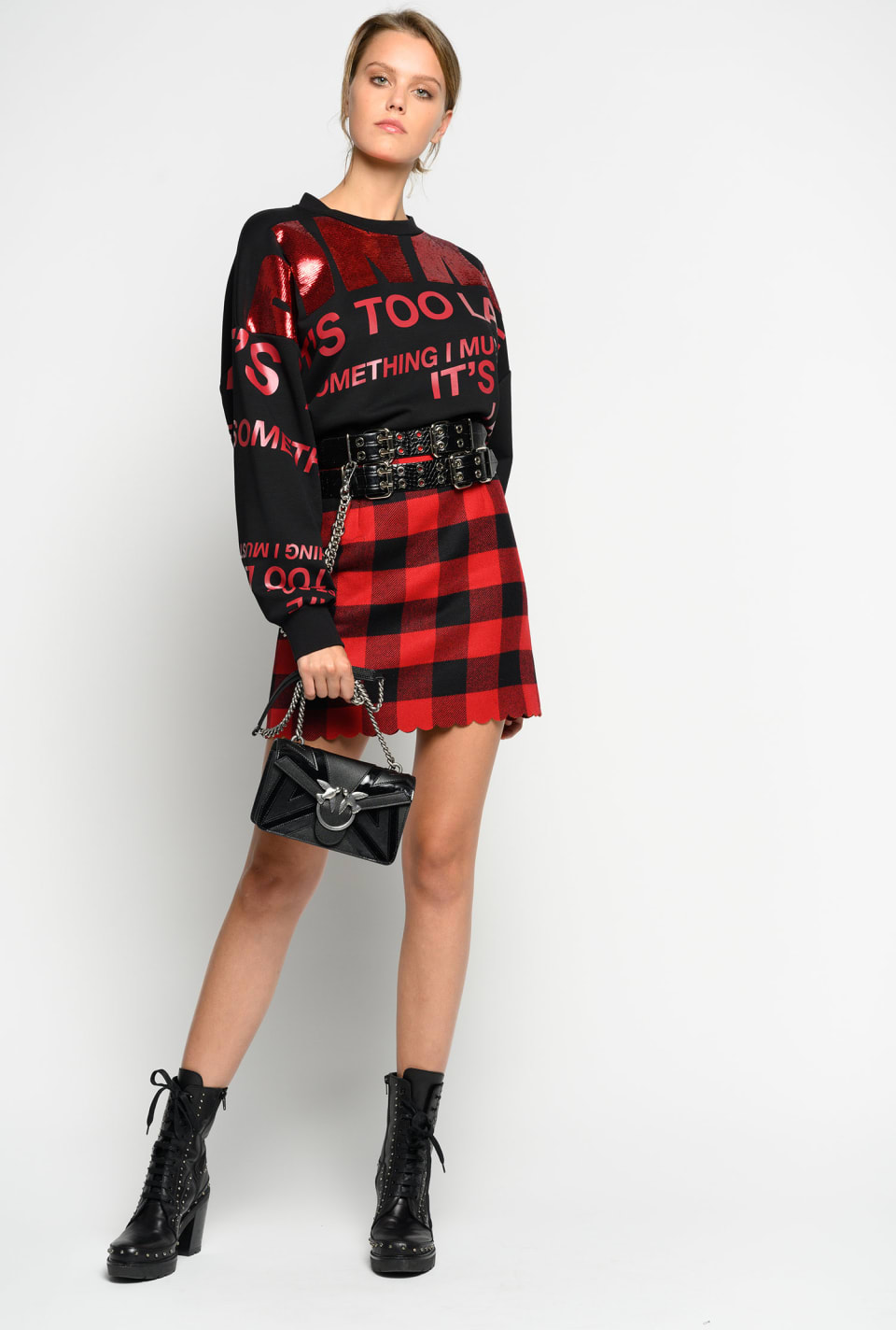 Check wool blend Melton mini skirt