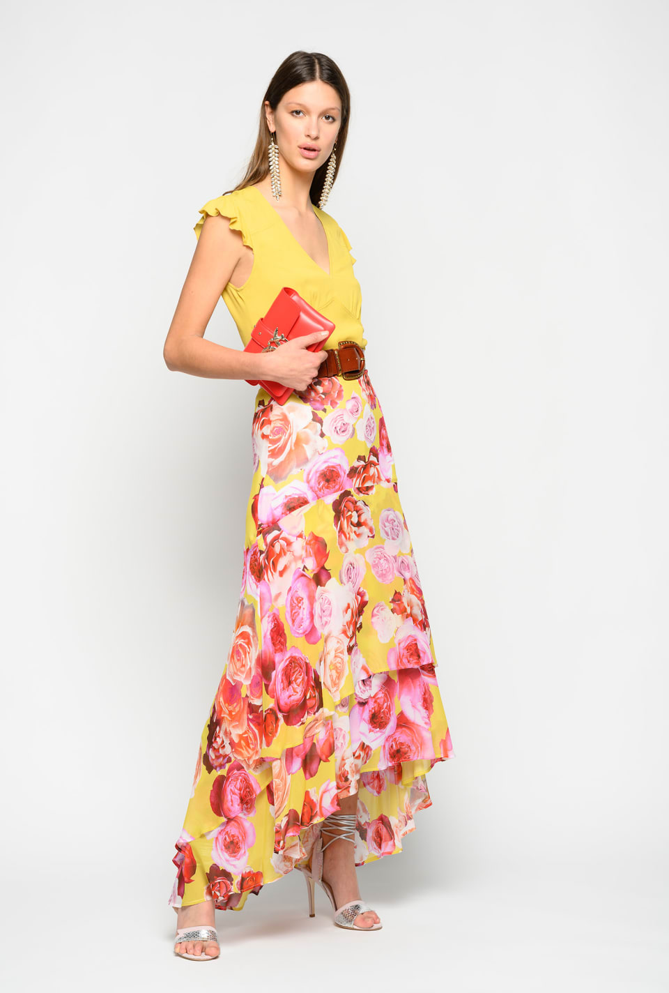 Long skirt with bouquet print