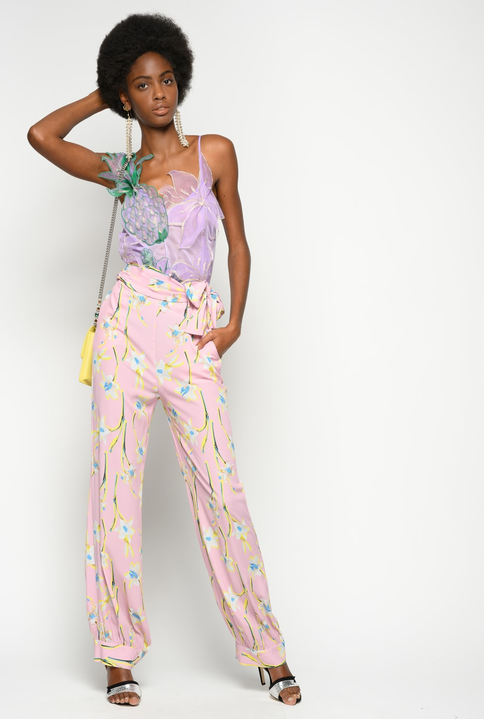 Lily-print trousers