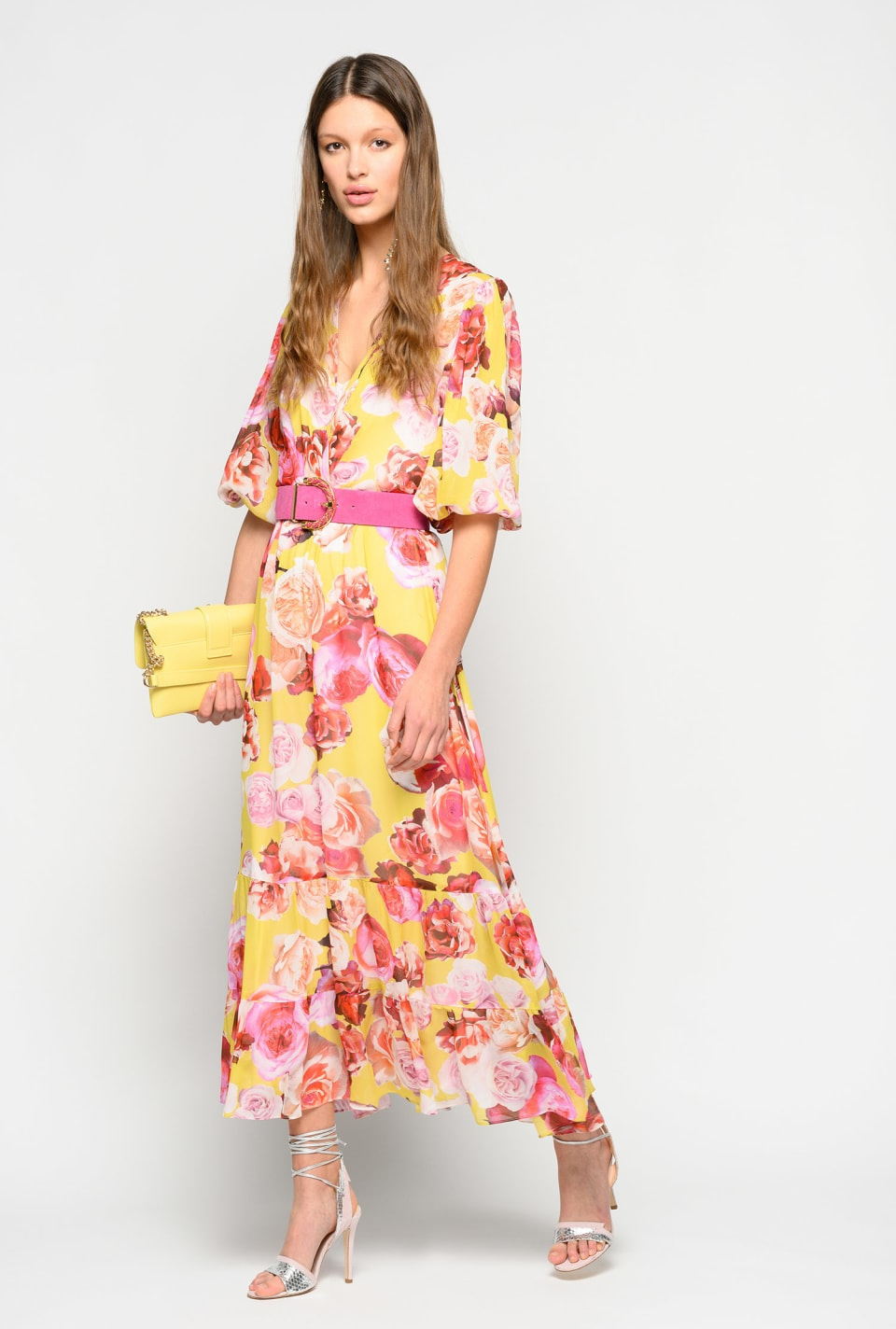 Long dress with bouquet print