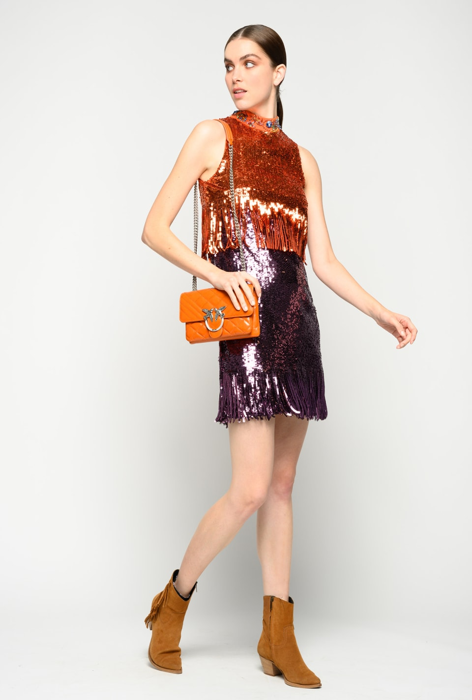 Sequinned dress with fringe