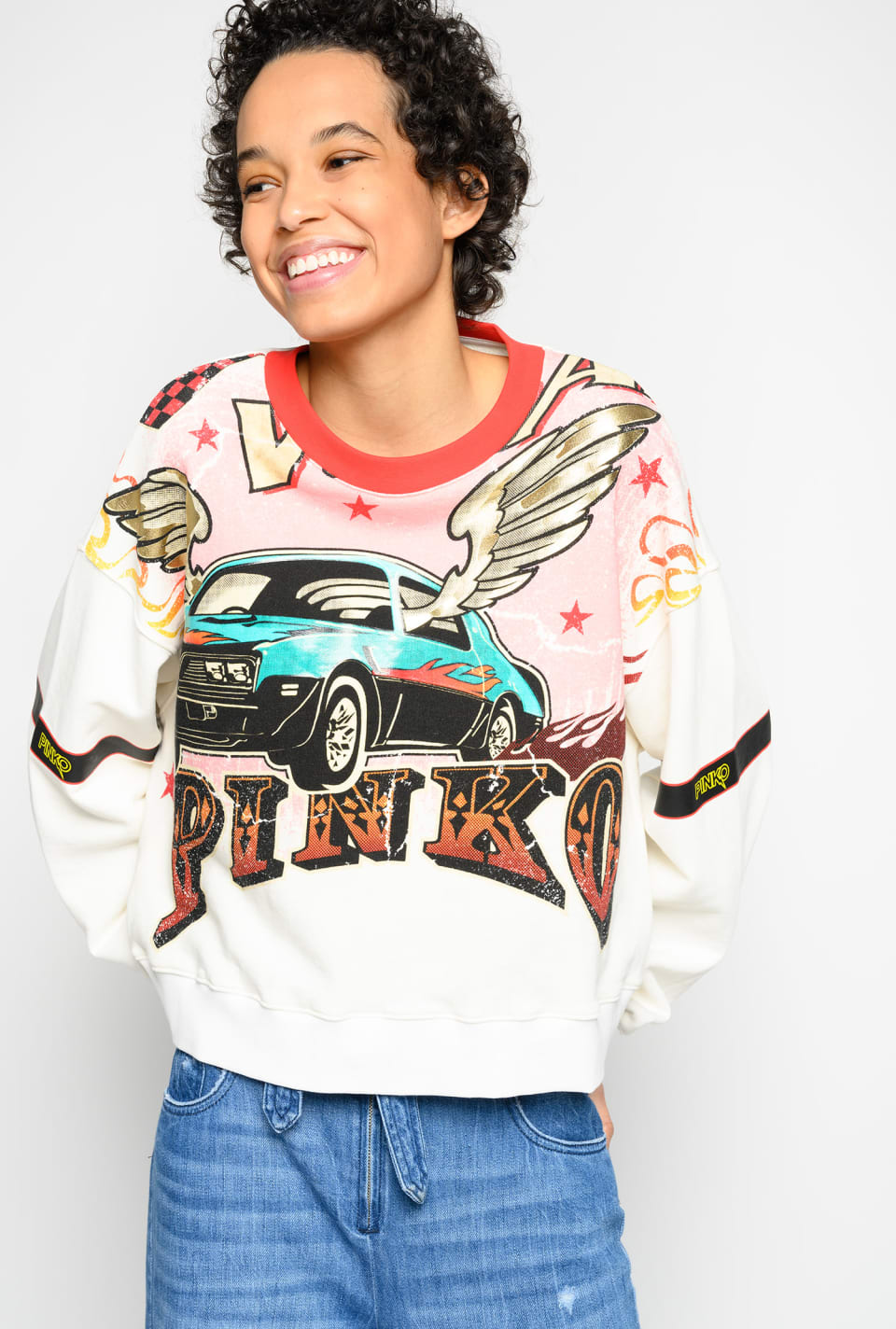 Cropped rodeo print sweatshirt