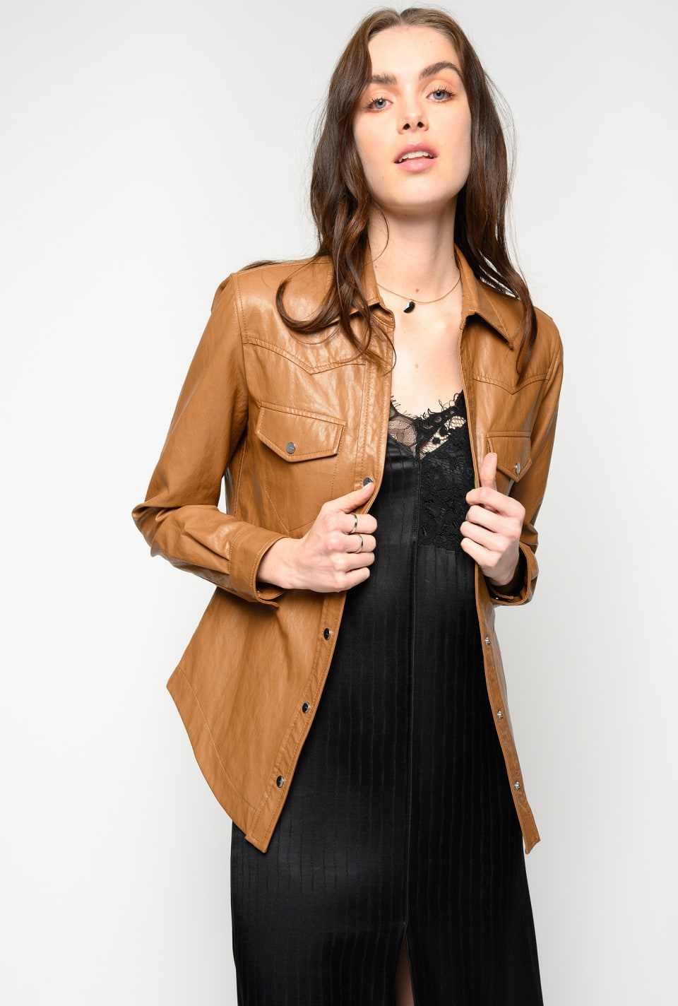 Leather look shirt
