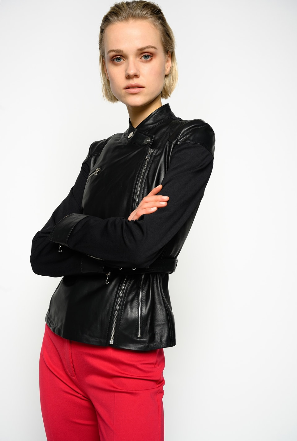 Two-material biker jacket