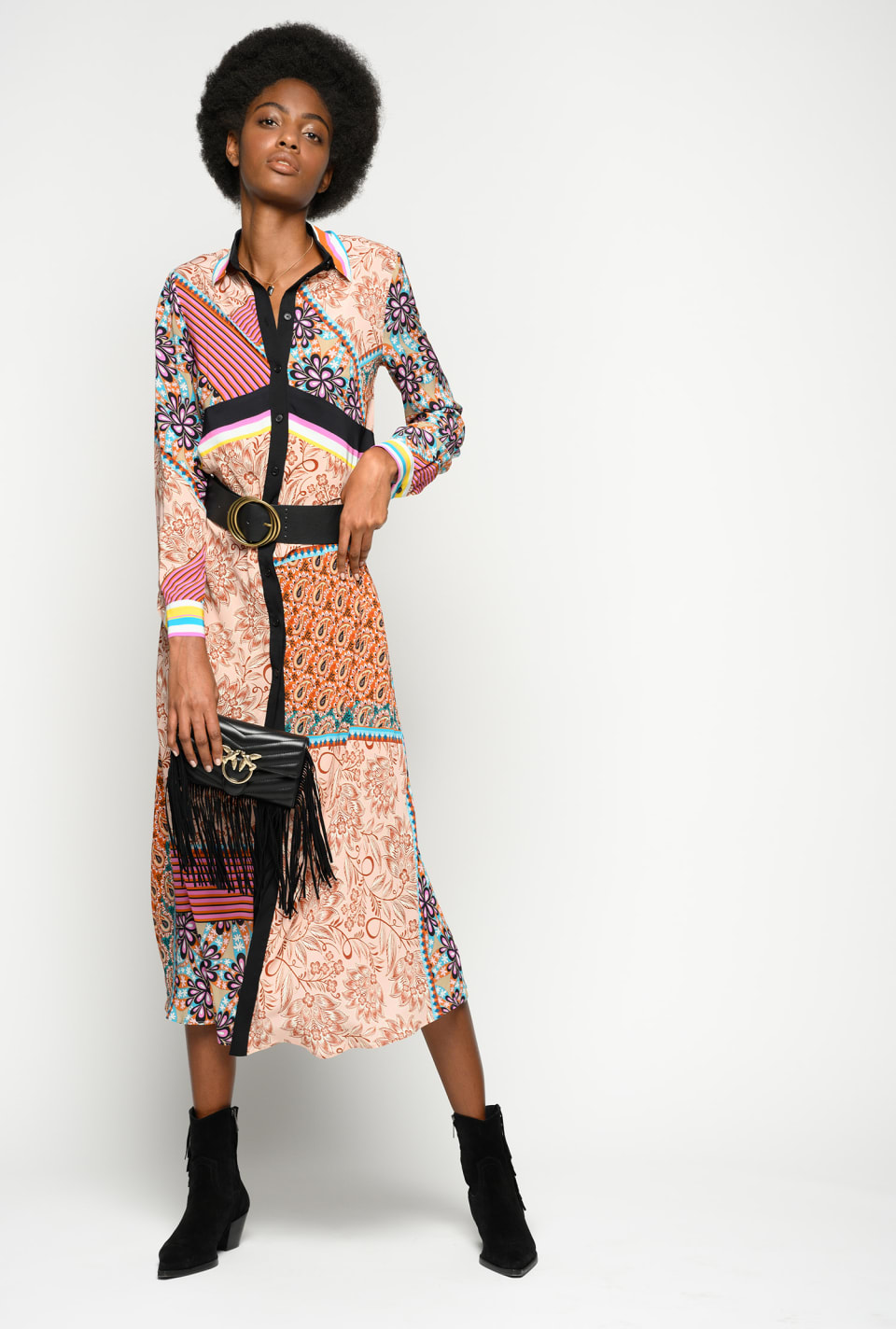 Long patchwork print shirtdress