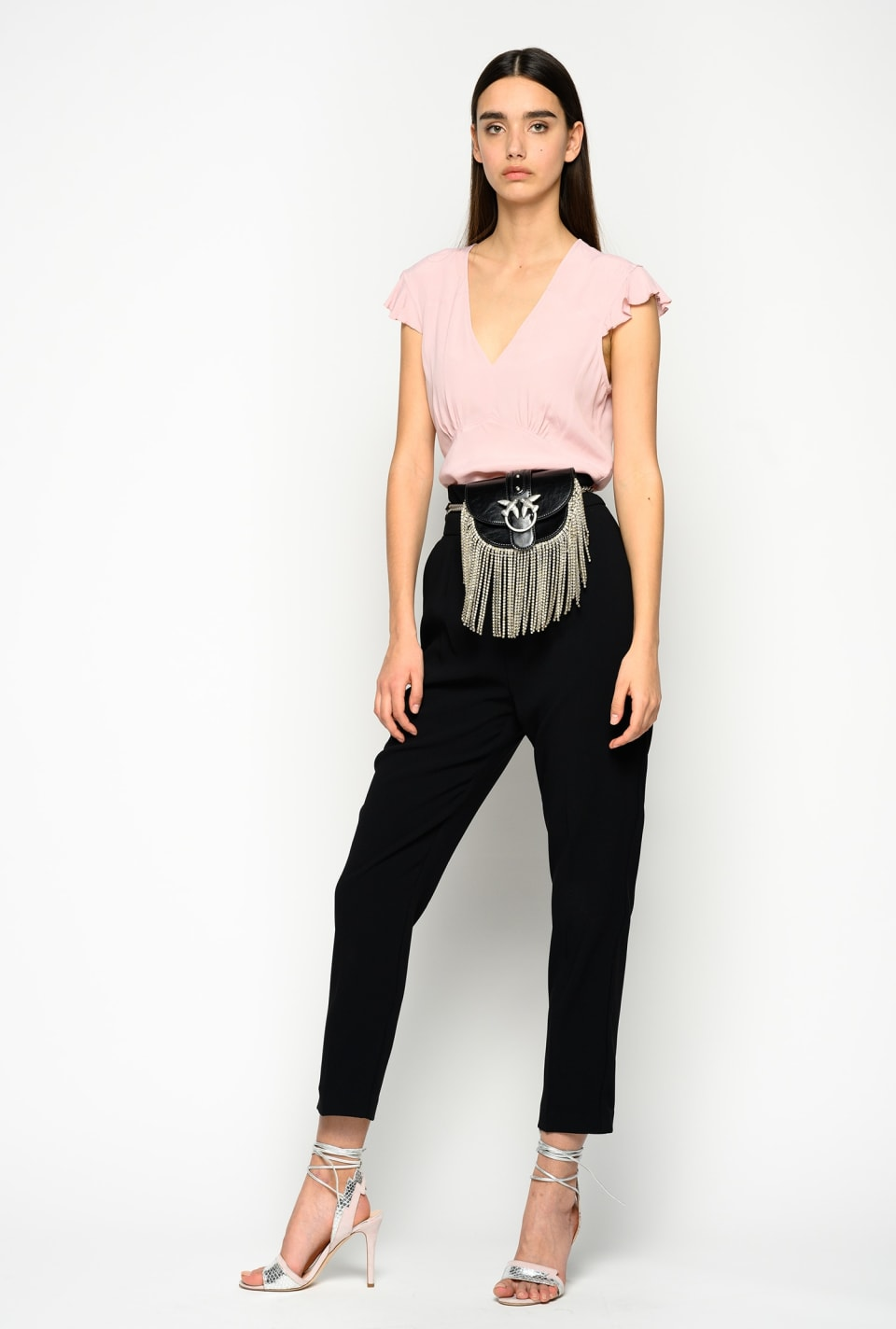High-waist trousers in stretch crepe
