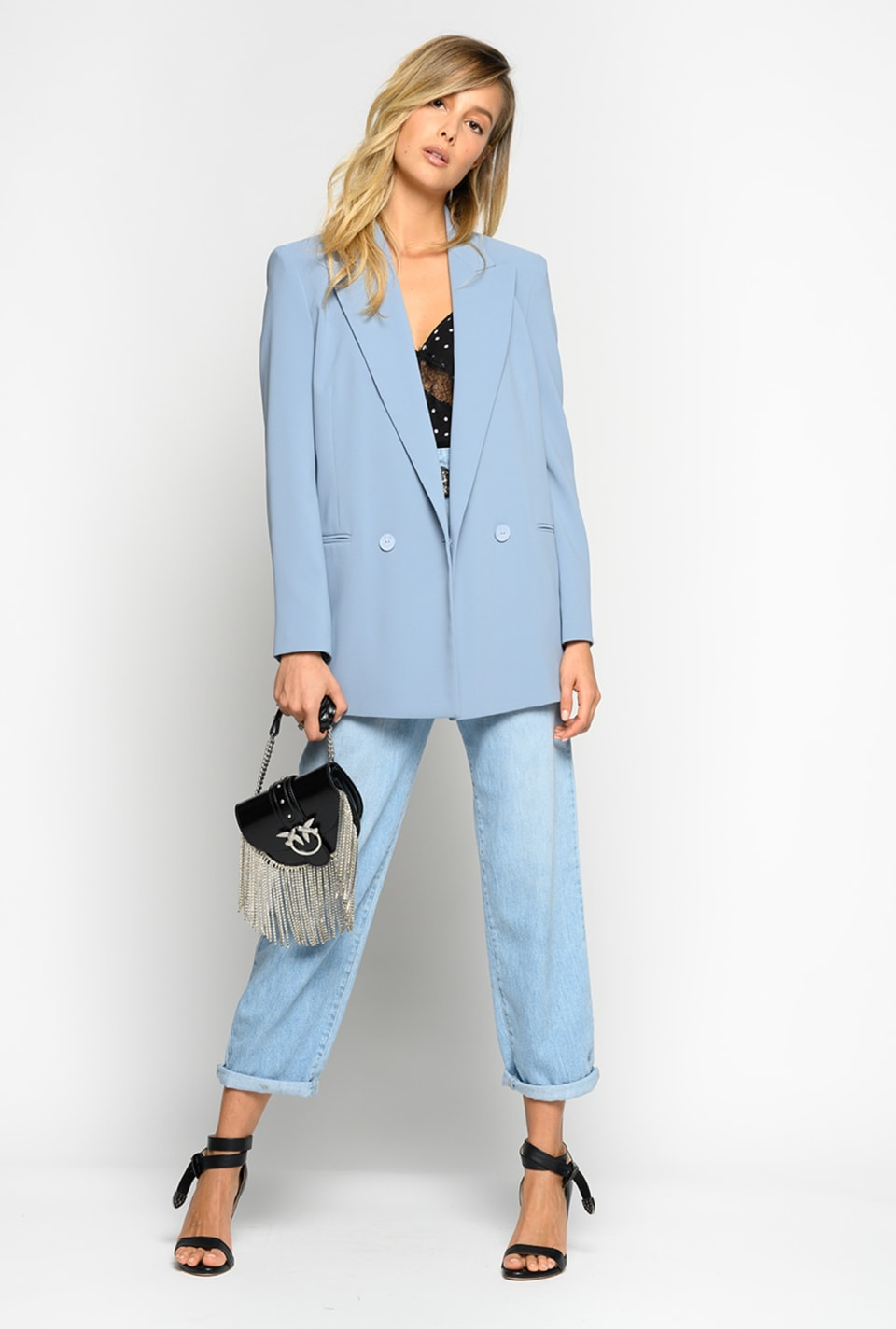 Long blazer in stretch crepe