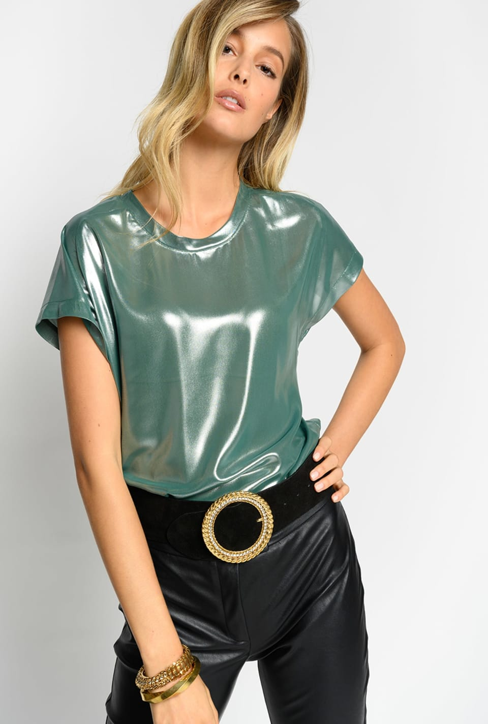 Laminated georgette top